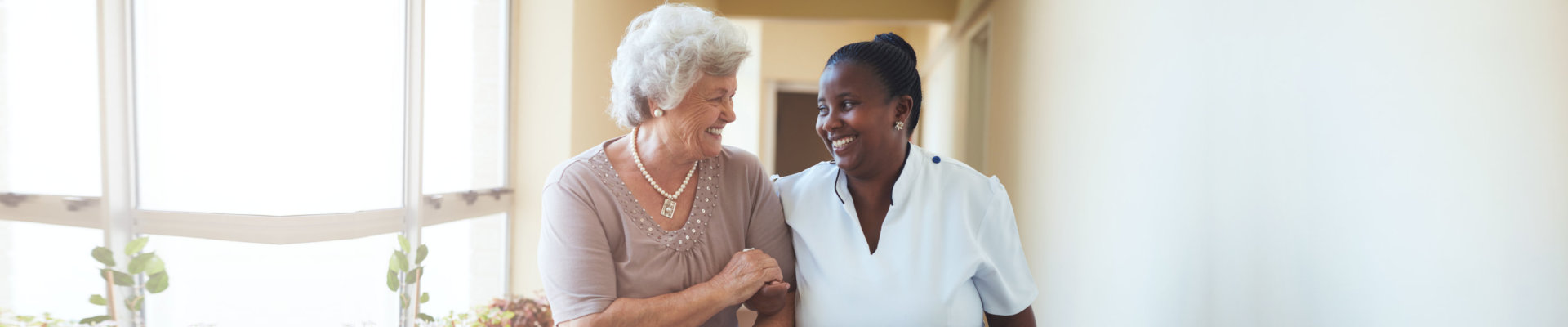 caregiver and elderly lady